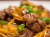 Scallion adds color to beef stir fry